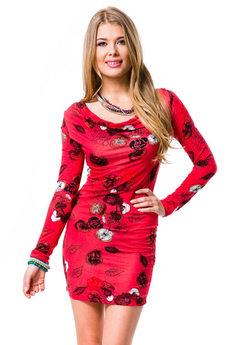 Красное платье в цветочек Mondigo